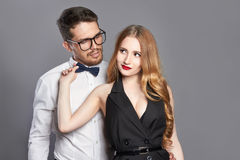 Beautiful woman and bearded man Royalty Free Stock Photos