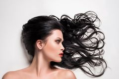 Beautiful woman with beautiful composed hair. Isolated on white stock photography