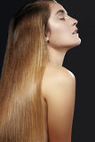 Beautiful woman with beautiful straight shiny hair, fashion makeup. Glamour make-up. Beautiful smooth hairstyle Stock Photos