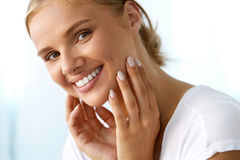 Beautiful Woman With Beauty Face, Healthy White Teeth Smiling Royalty Free Stock Photo