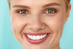 Beautiful Woman With Beauty Face, Healthy White Teeth Smiling Stock Image