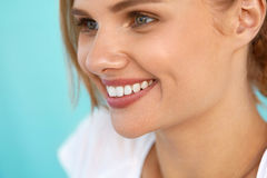 Beautiful Woman With Beauty Face, Healthy White Teeth Smiling Royalty Free Stock Photography
