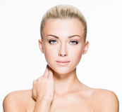 Beautiful woman with beauty face - isolated Stock Photo
