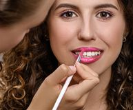 Beautiful woman in beauty salon doing makeup. royalty free stock photography