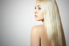Beautiful Woman. Beauty Blond Girl. Healthy hair Royalty Free Stock Photo