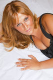 Beautiful Woman On Bed Royalty Free Stock Photos
