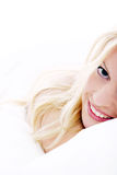 Beautiful woman in bed Stock Images