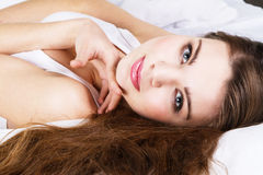 Beautiful woman in bed Royalty Free Stock Images