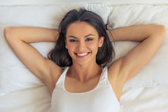 Beautiful woman in bed Royalty Free Stock Photography