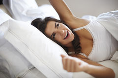 Beautiful woman in bed Royalty Free Stock Photo