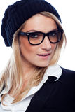 Beautiful woman in a beret and glasses Royalty Free Stock Photos