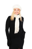 Beautiful woman in beret and scarf Royalty Free Stock Photography