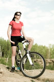 Beautiful woman bicyclist Stock Photography