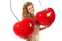 Beautiful woman with big cherry Stock Photography
