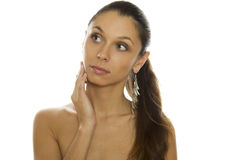 Beautiful woman with big earrings Royalty Free Stock Image