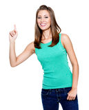 Beautiful woman with big idea Stock Images