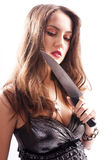 Beautiful woman with  big knife Royalty Free Stock Photo
