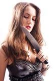Beautiful woman with  big knife Royalty Free Stock Photo