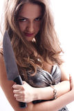 Beautiful woman with big knife Royalty Free Stock Photos