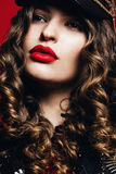 Beautiful woman with big passionate red lips Royalty Free Stock Images