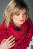 Beautiful woman in big pink scarf Stock Photography