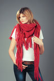 Beautiful woman in big pink scarf Royalty Free Stock Photo