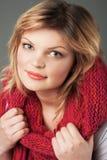 Beautiful woman in big pink scarf Stock Photo