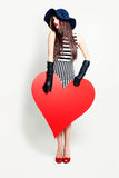 Beautiful Woman and Big Red Heart Banner Royalty Free Stock Images