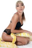 The beautiful woman with the big yellow snake Stock Photography