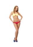 Beautiful woman in bikini. Bright picture of beautiful woman in bikini and high heels Royalty Free Stock Photo