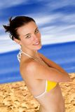 Beautiful woman in bikini at the beach Royalty Free Stock Image