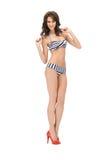 Beautiful woman in bikini. Bright picture of beautiful woman in bikini and high heels Royalty Free Stock Photos