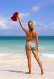 Beautiful woman in bikini on the caribbean beach Royalty Free Stock Image