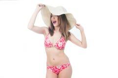 Beautiful woman in bikini and hat Royalty Free Stock Photo