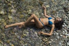 Beautiful woman in bikini joy in beach. Beautiful brunette woman in bikini joy on beach, summer Royalty Free Stock Photos