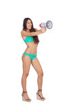 Beautiful woman in bikini with megaphone Royalty Free Stock Image
