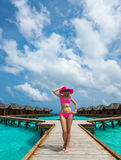 Beautiful woman in bikini on the Paradise island Royalty Free Stock Images