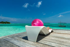 Beautiful woman in bikini on the Paradise island Stock Image