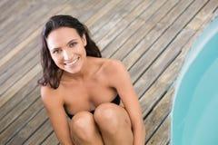 Beautiful woman in bikini relaxing Stock Images