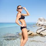 Beautiful woman in bikini on sea background Royalty Free Stock Photos