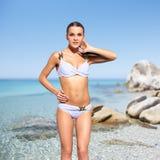 Beautiful woman in bikini on sea background Stock Photo