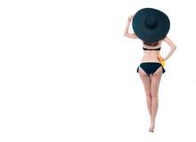 Beautiful woman in bikini with spray bottle Royalty Free Stock Photos