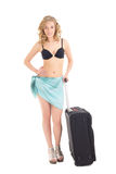 Beautiful woman in bikini with suitcase on white background Stock Images