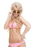 Beautiful woman in bikini with sunglasses Stock Photography