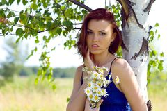 Beautiful woman at the birch. Summer meadow Royalty Free Stock Image