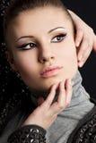 Beautiful woman on black Royalty Free Stock Photo