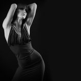 Beautiful woman in black. Black and white photo Royalty Free Stock Photo