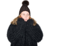 Beautiful woman with a black angora sweater Stock Images