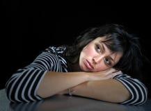 Beautiful woman on black background. Beautiful expressive brunette fashion model on black background Stock Photo