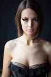 Beautiful woman on black background Stock Photo